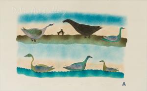'Birds of the Land and Sea' by Josea Maniapik - Inuit - Pangnirtung 2002