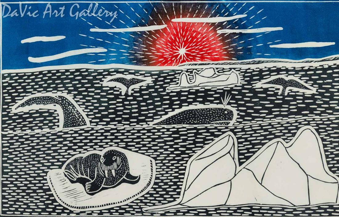 'Summer Sunset' by Leetia Alivaktuk - Inuit - Pangnirtung 2002