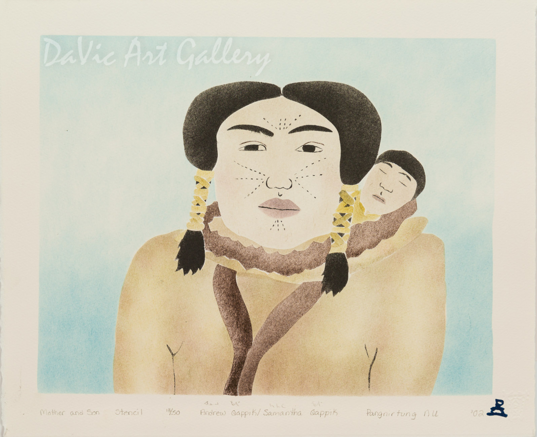 'Mother and Son' by Samantha Qappik 2002 - Inuit - Pangnirtung