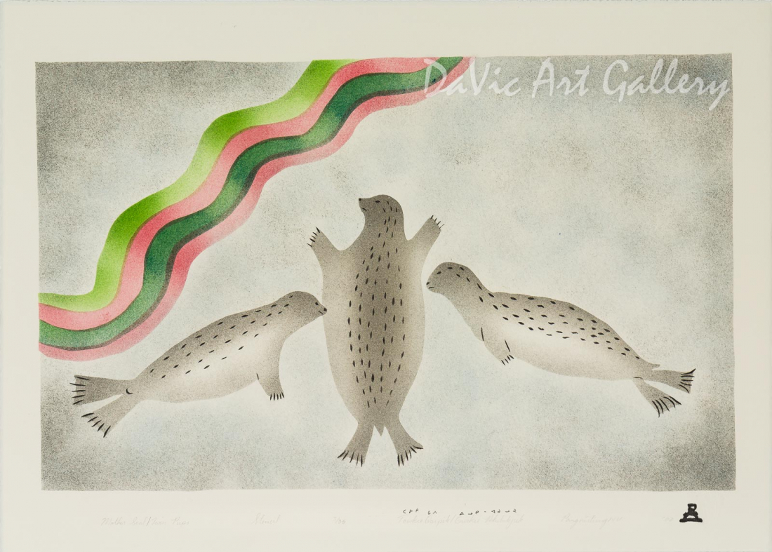 'Mother Seal - Twin Pups' by Towkie Qarpik 2002 - Inuit - Pangnirtung