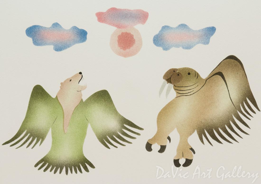 'Dueling Shamans' by Lipa Pitsiulak - Inuit - Pangnirtung 2003