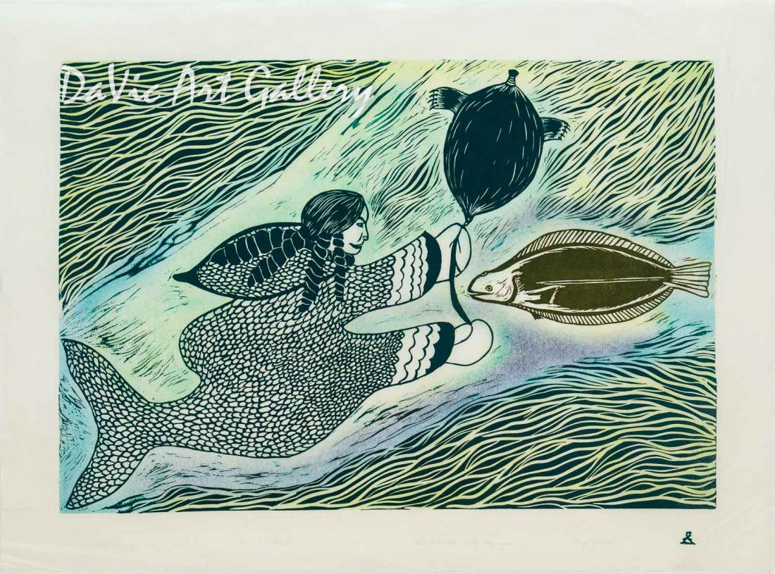 'Sedna Luring a Fish' by Lipa Pitsiulak - Inuit - Pangnirtung 2003