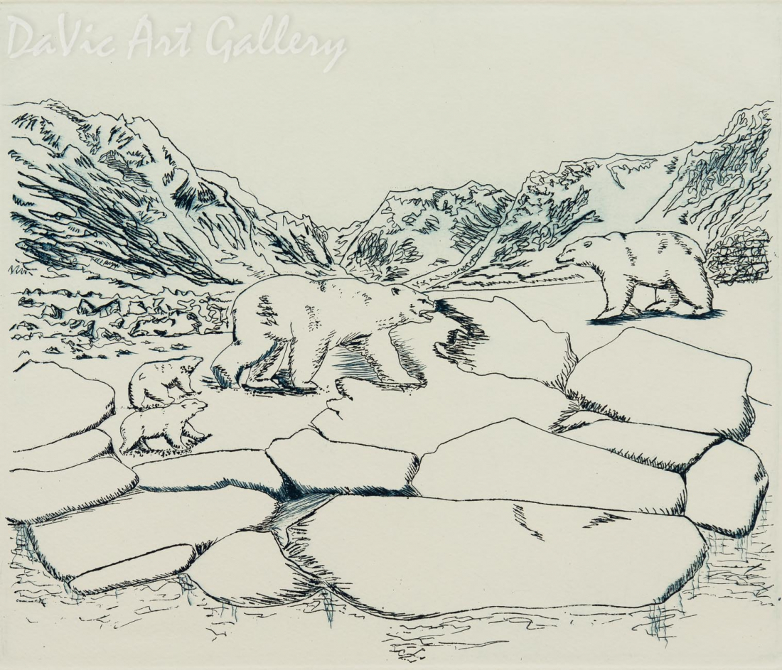 'Polar Bears at the Passage' by Abigail Ootoova - Inuit Art - Pangnirtung 2004
