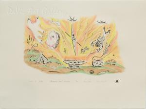 'Drawn to the Qulliq' by Ame Papatsie - Inuit Art - Pangnirtung 2004