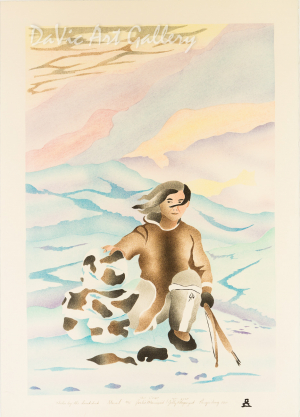 'The Archer by the Inukshuk' by Joelee Maniapik - Inuit - Pangnirtung 2004