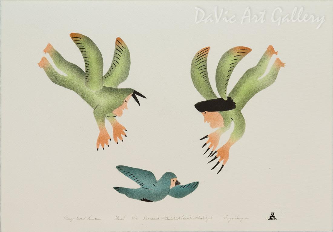'Plunge Toward Innocence' by Ananaisie Alikatuktuk - Inuit Art - Pangnirtung 2005