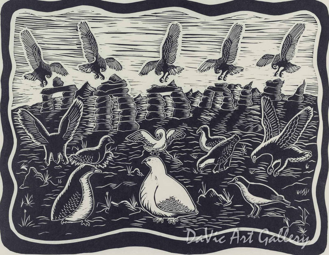 'Birds Drawn to the Inuksuit' by Annie Kilabuk - Inuit - Pangnirtung 2006