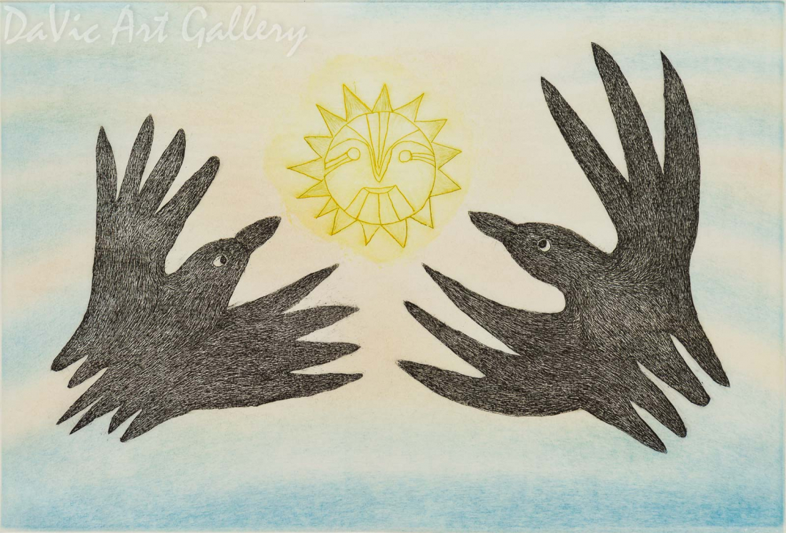 'Ravens to the Sun' by Annie Pitsiulak - Inuit - Pangnirtung 2007