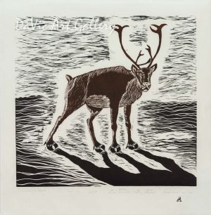 'Caribou in Relief' by Annie Pitsiulak - Inuit - Pangnirtung 2008