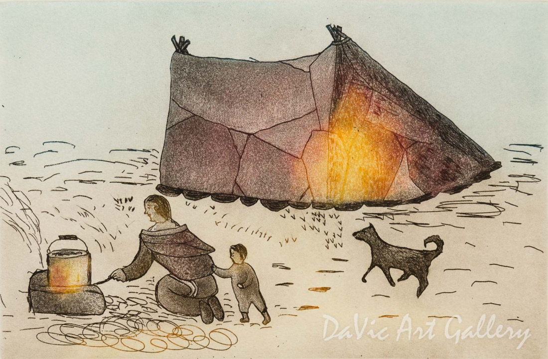 'Camping Cookout' by Towkie Qarpik 2010 - Inuit - Pangnirtung