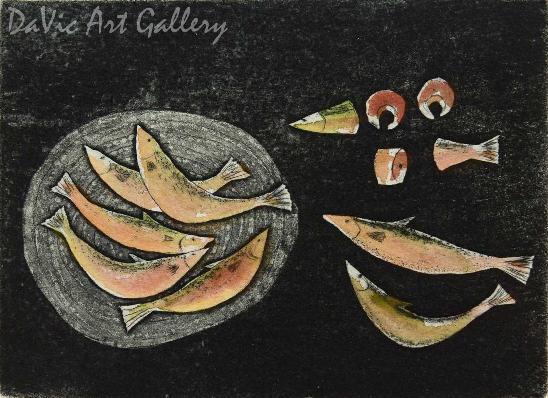 'Yummy Fish' by Towkie Qarpik 2010 - Inuit - Pangnirtung