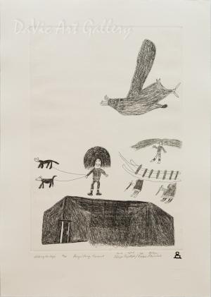 'Walking the Dogs' by Ooleepa Papatsie - Inuit - Pangnirtung 2011