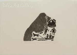 'The Ancient Way of Hunting' by Joe Talirinuli - Inuit Art - Puvirnituq 1977