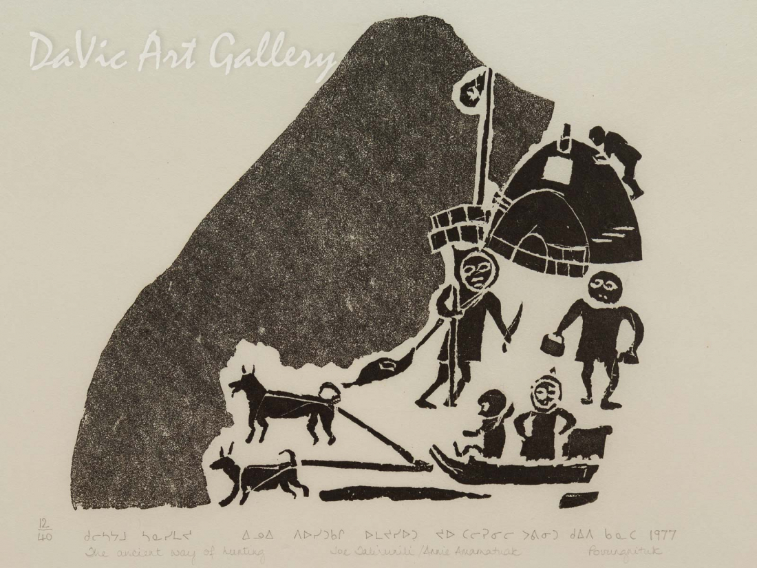 'The Ancient Way of Hunting' by Joe Talirinuli - Inuit Art - Puvirnituq 1977