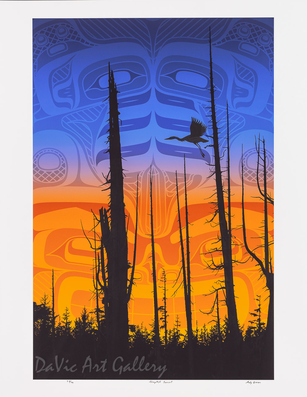 Nimpkish Sunset by Andy Everson 2010 - Northwest Coast - Kwakwaka'wakw