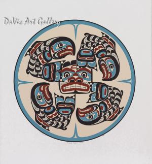 Kwakiutl Komokwa & Salmon by Eugene Hunt 1992 - Northwest Coast - Kwakwaka'wakw