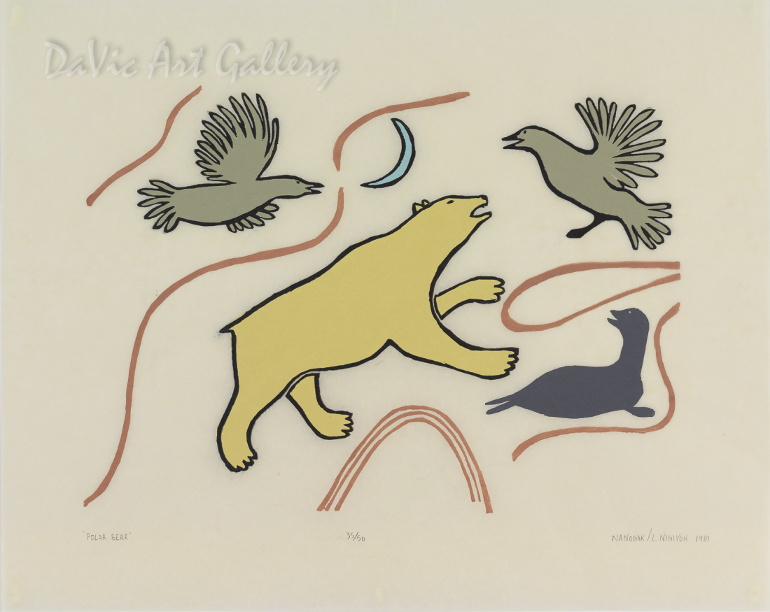 'Polar Bear' by Agnes Nanogak Goose - Inuit Art - Ulukhaktok (Holman) 1989