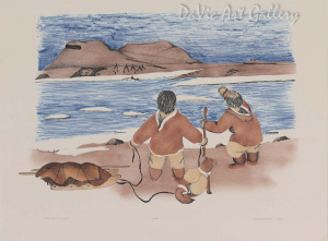 'Need Help to Cross' by Mary Okheena - Inuit Art - Ulukhaktok (Holman) 1990