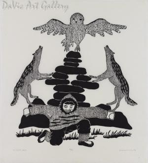 'The Hungry Wolfs' by Mabel Nigiyok - Inuit Art - Ulukhaktok (Holman) 1992