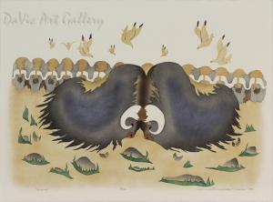 'September' by Mary Okheena - Inuit Art - Ulukhaktok (Holman) 1994