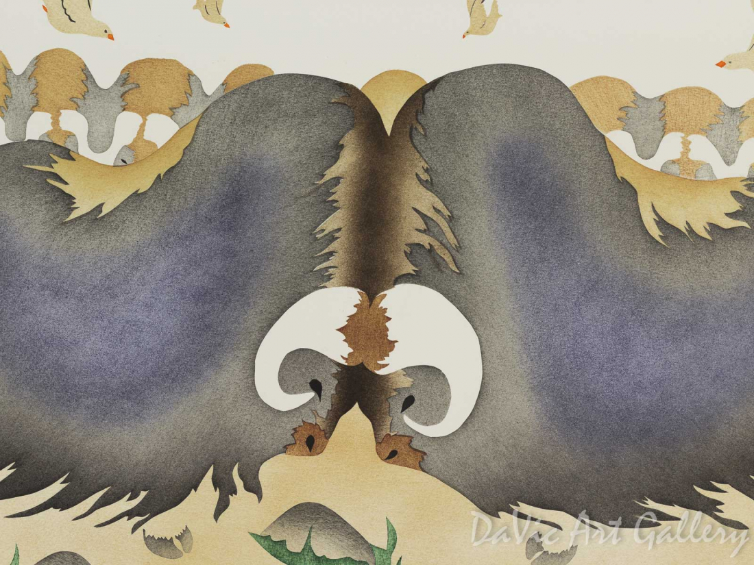 'September' by Mary Okheena - Inuit Art - Ulukhaktok (Holman) 1994
