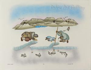 'Spring fishing' by Mabel Nigiyok - Inuit Art - Ulukhaktok (Holman) 1998