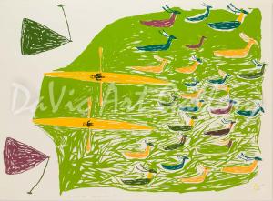 """The Caribou Hunt"" by Luke Anguhadluq - Inuit - Baker Lake 1976"