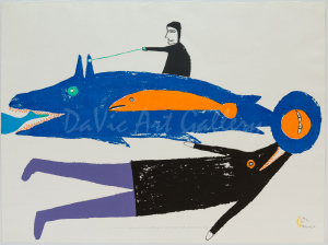 """""""Two Fish Looking for Something To Eat"""" by Jessie Oonark - Inuit - Baker Lake 1978"""