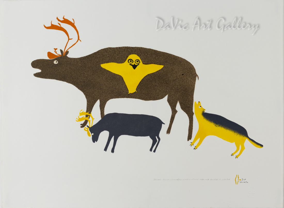 """Caribou Being Chased by Wolf and Owl"" by Marion Tuu'luuq - Inuit - Baker Lake 1978"
