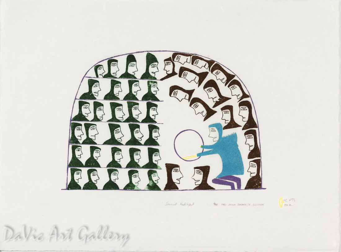 Innuit Katitput (Gathering of Innuit) by Jessie Oonark - Inuit - Baker Lake 1981