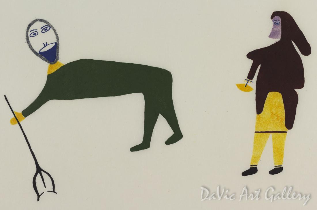 """Fisherman and the Widow"" by Luke Anguhadluq - Inuit - Baker Lake 1982"