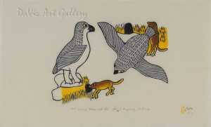 """""""Owl Scaring Mouse into Hole"""" by Janet Kigusiuq - Inuit - Baker Lake 1990"""
