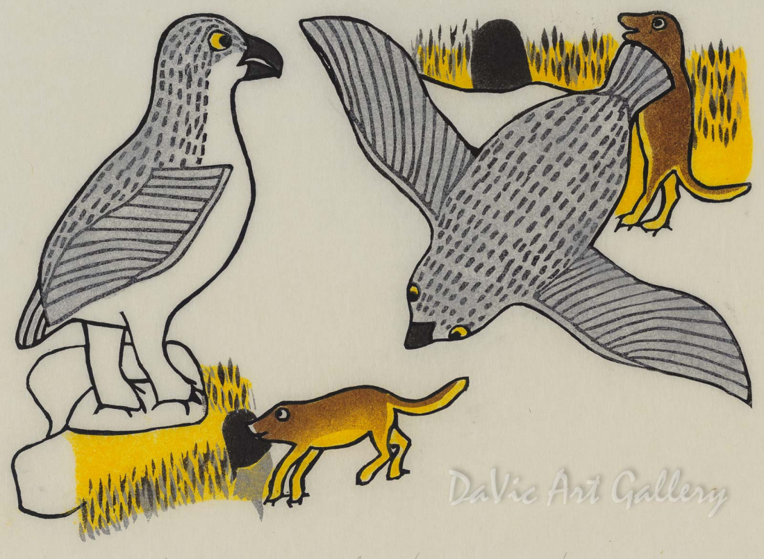 """Owl Scaring Mouse into Hole"" by Janet Kigusiuq - Inuit - Baker Lake 1990"