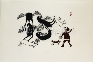 """Untitled (Hunter and Dogs, 4 Large Birds)"" by Kiakshuk - Inuit - Cape Dorset 1962"