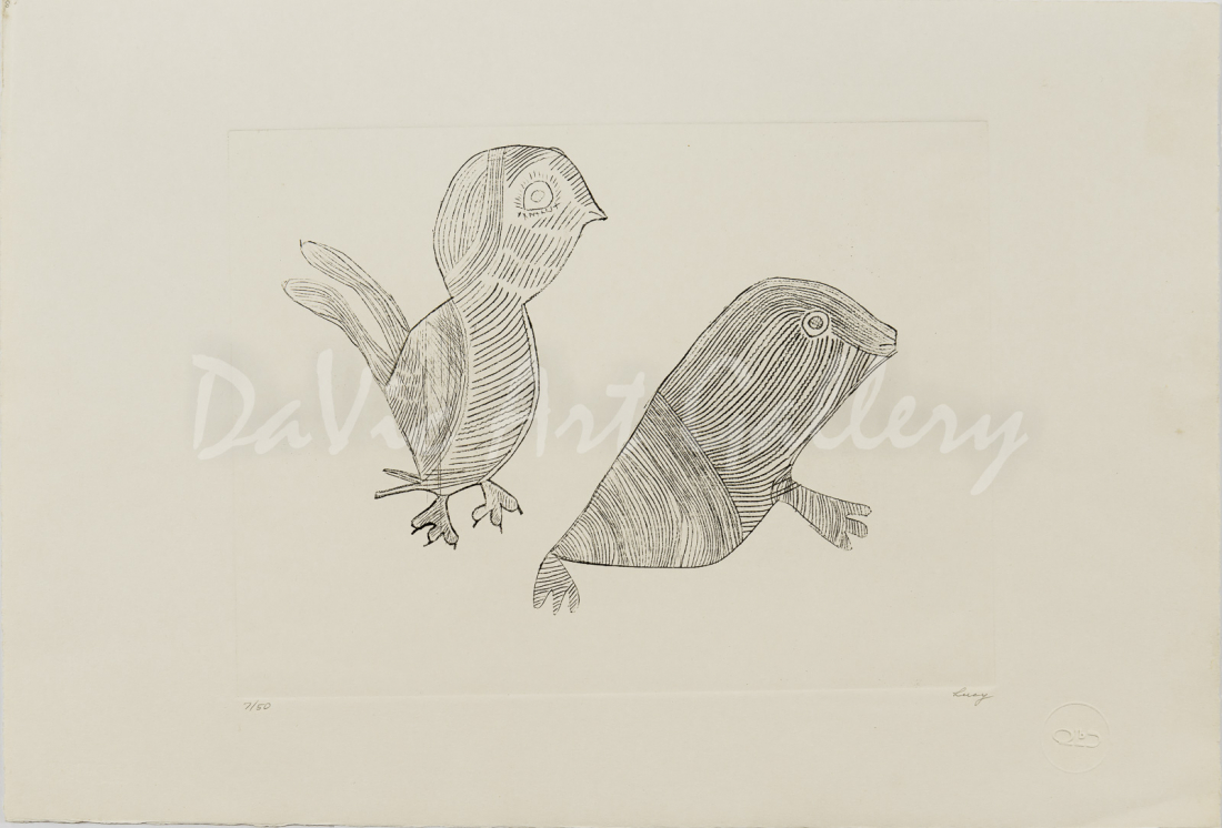 """Untitled #08 (Bird and Seal)"" by Lucy Qinnuayuak - Inuit - Cape Dorset 1962"