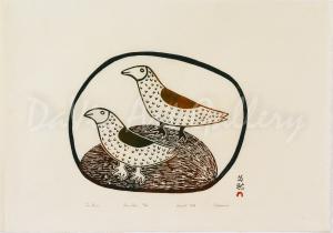 """Two Gulls"" by Pitaloosie Saila, RCA - Inuit - Cape Dorset 1968"