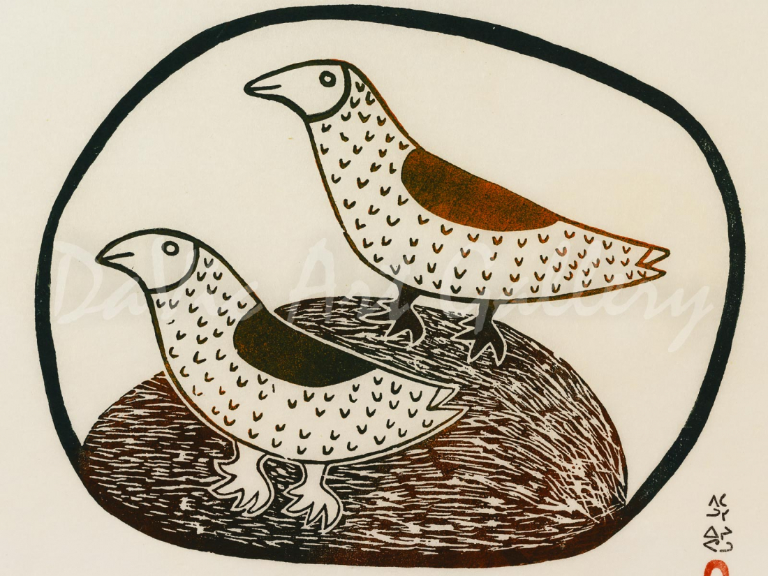 """Two Gulls"" by Pitaloosie Saila, RCA - Inuit - Cape Dorset 1968"