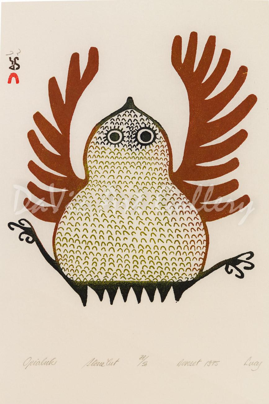 """Opialuk"" by Lucy Qinnuayuak - Inuit - Cape Dorset 1975"