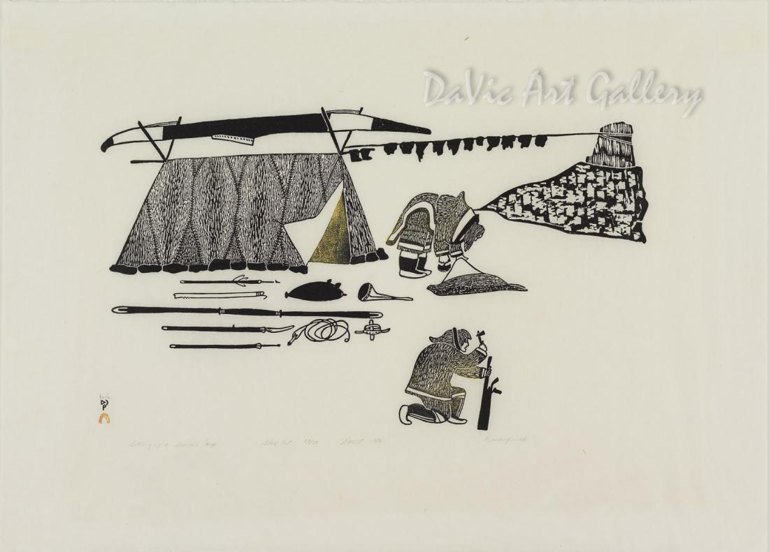 """Setting up a Summer Camp"" by Kananginak Pootoogook - Inuit - Cape Dorset 1976"