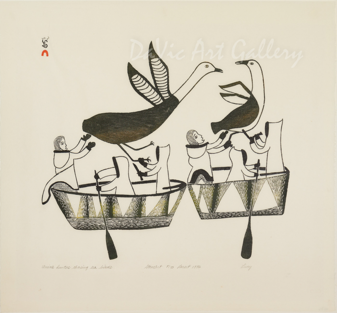 """Umiak Hunters Chasing Seabirds"" by Lucy Qinnuayuak - Inuit - Cape Dorset 1976"
