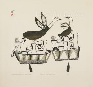 """Umiak Hunters Chasing Seabirds"" by Lucy Qinnuayuak - Inuit - Cape Dorset 1976"