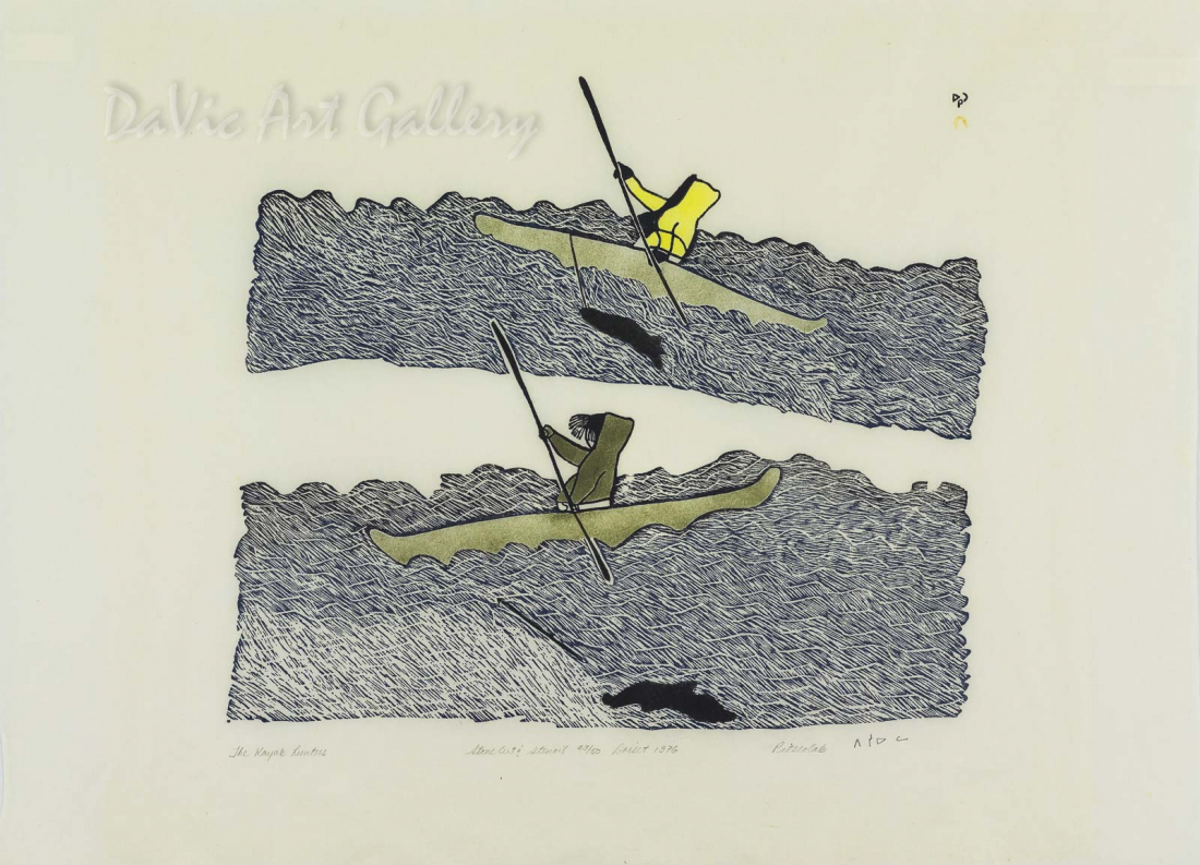 """The Kayak Hunters"" by Pitseolak Ashoona, RCA OC - Inuit - Cape Dorset 1976"