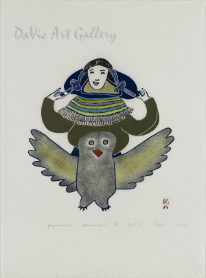 """""""Young Woman and Owl"""" by Pitseolak Ashoona, RCA OC - Inuit - Cape Dorset 1979"""