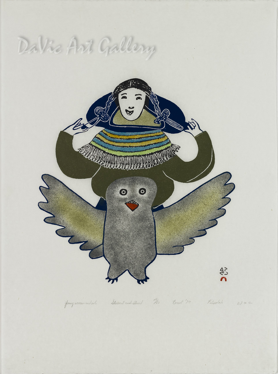 """Young Woman and Owl"" by Pitseolak Ashoona, RCA OC - Inuit - Cape Dorset 1979"