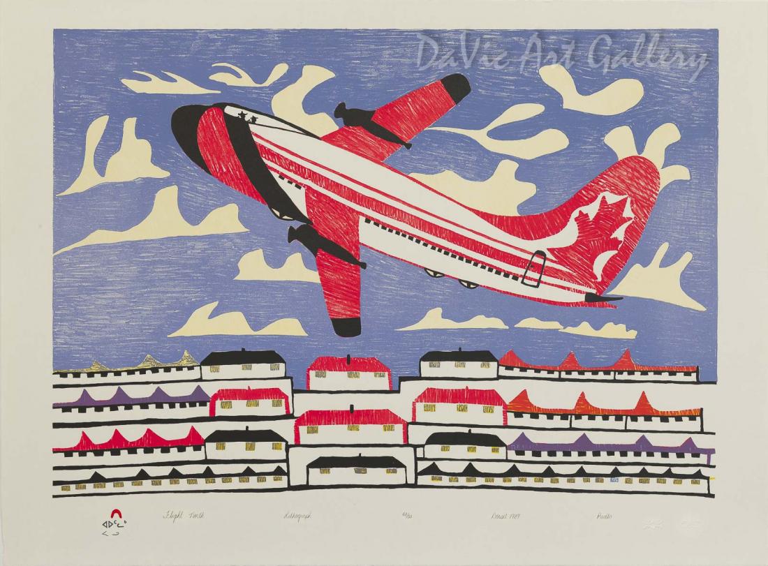 """Flight North"" by Pudlo Pudlat - Inuit - Cape Dorset 1989"