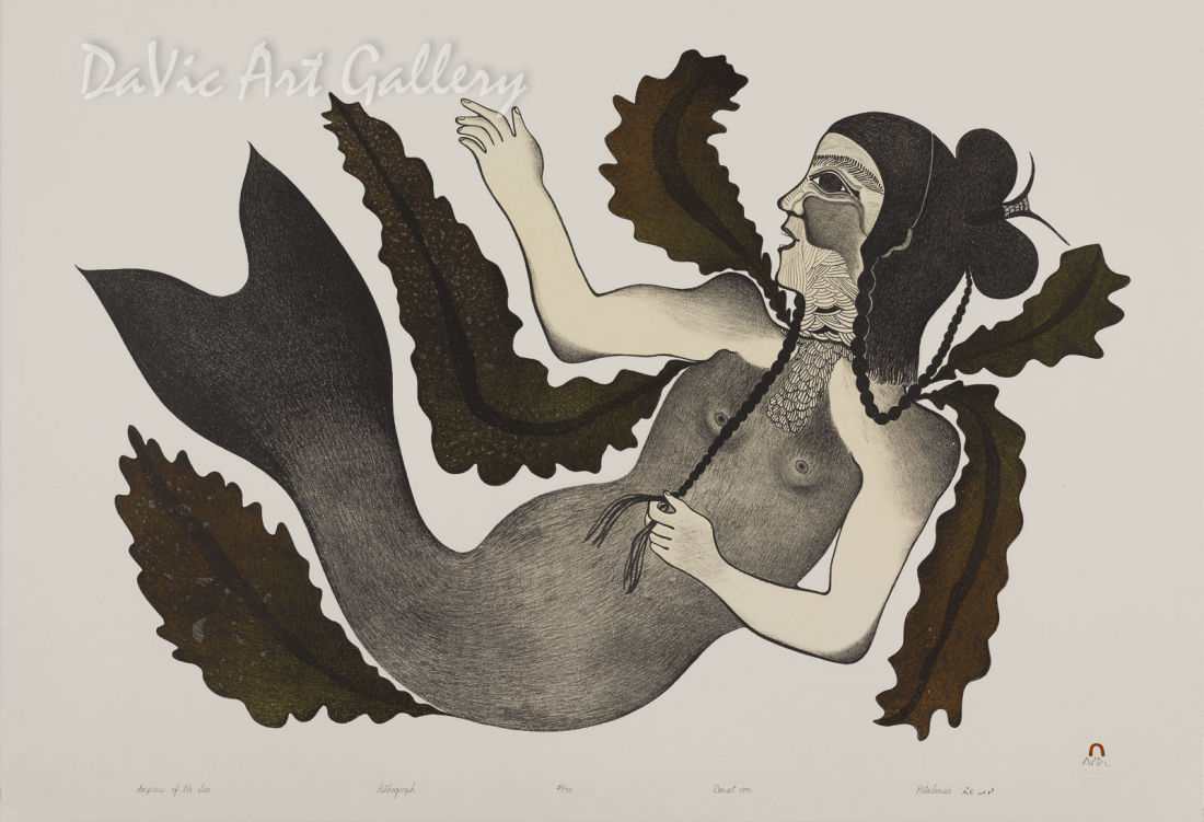 """Empress of the Sea"" by Pitaloosie Saila, RCA - Inuit - Cape Dorset 1991"