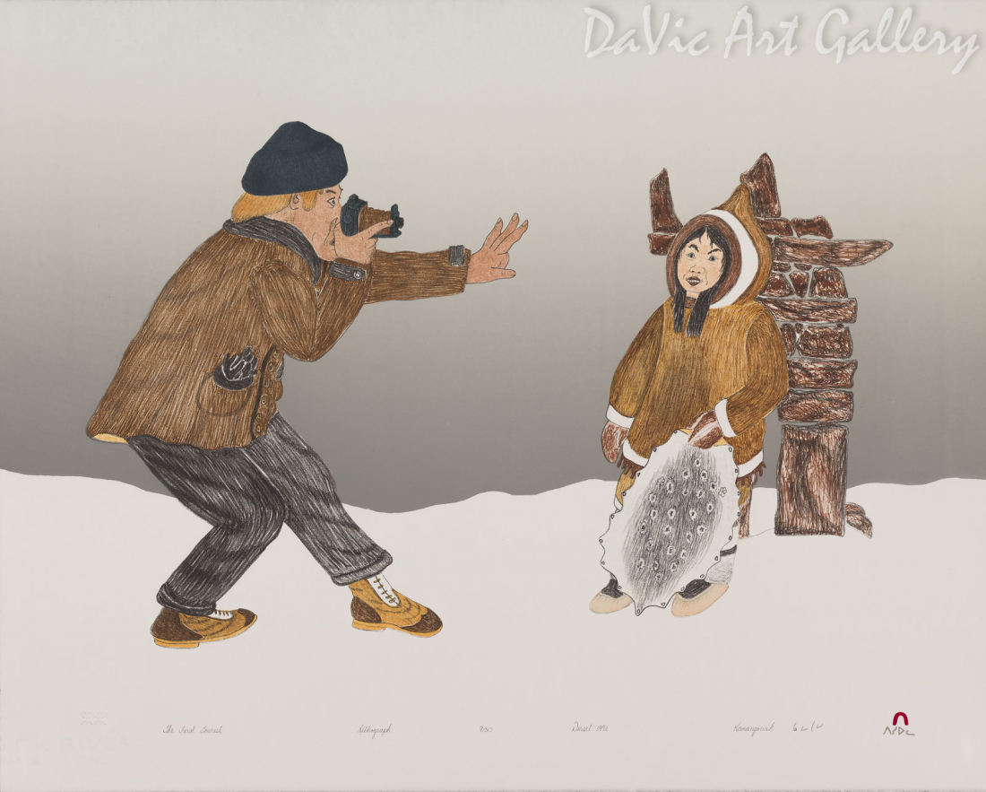 """The First Tourist"" by Kananginak Pootoogook - Inuit - Cape Dorset 1992"
