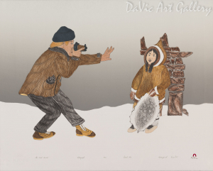 """The First Tourist"" by Kananginak Pootoogook - Inuit - Cape Dorset 1992"