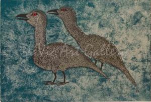 """Young Ravens"" by Kenojuak Ashevak - Inuit Art - Cape Dorset 2000"