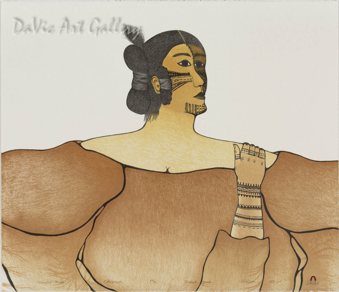 """Tunnilik Arnaq (Tattooed Woman)"" by Pitaloosie Saila, RCA - Inuit - Cape Dorset 2002"